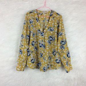 J.Crew | floral drapey blouse